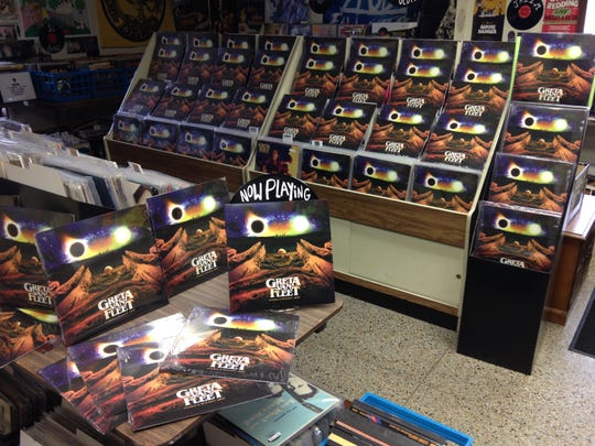 "Vinyl copies of Greta Van Fleet's ""Anthem of the Peaceful Army"" on display at Radio Wasteland Records in Midland."