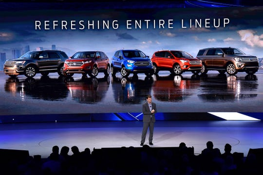 The Ford SUV lineup is introduced by Jim Farley, Ford executive vice president and president of Ford Global Markets. The company is going after Jeep with off-road and rugged utility vehicles.