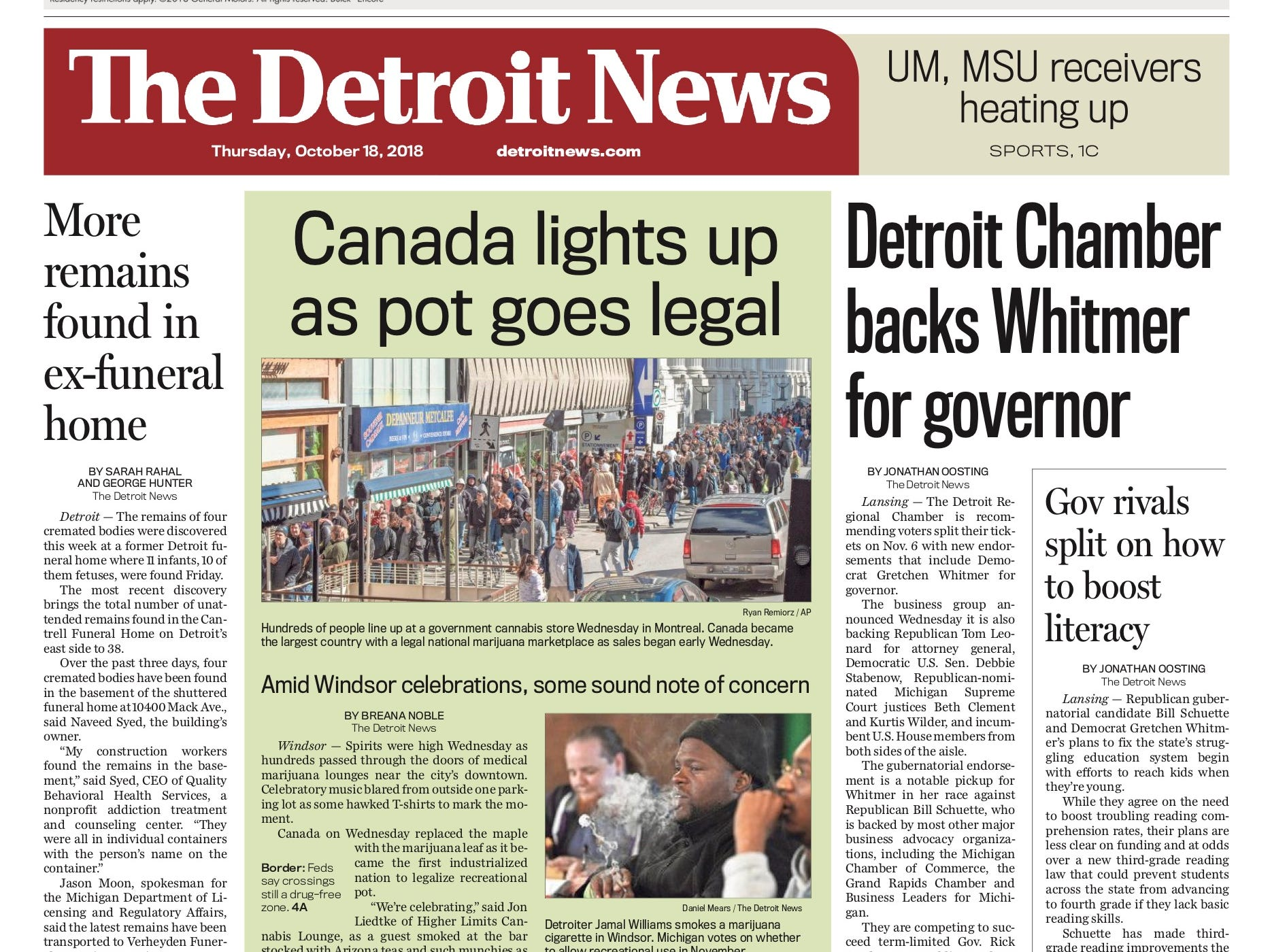 The front page of the Detroit News on October 18, 2018.
