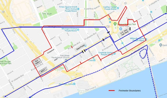 Street closures for the Detroit Marathon (shown in red) will begin at 3 a.m. and last until 3 p.m., according to organizers of the event.
