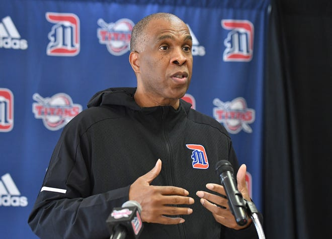 New University of Detroit Mercy head basketball coach Mike Davis during media day press conference.