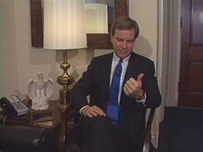 Then-Congressman Bill Schuette speaks during a 1989 interview in Washington D.C.