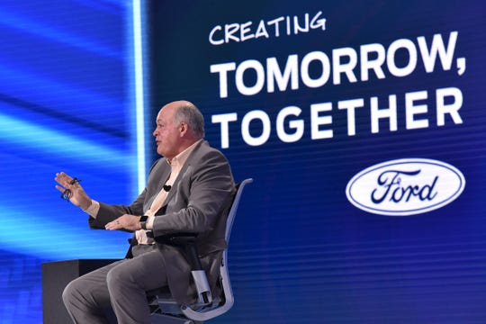 Jim Hackett, president and CEO of Ford, tells dealers at the Las Vegas meeting that for all the talk of autonomous vehicles, he and his team are not ignoring the SUVs and trucks that pay the bills now.