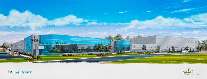 A rendering of Healthmark Industries Inc.'s expanded global headquarters in Fraser, part of a $13 million investment.