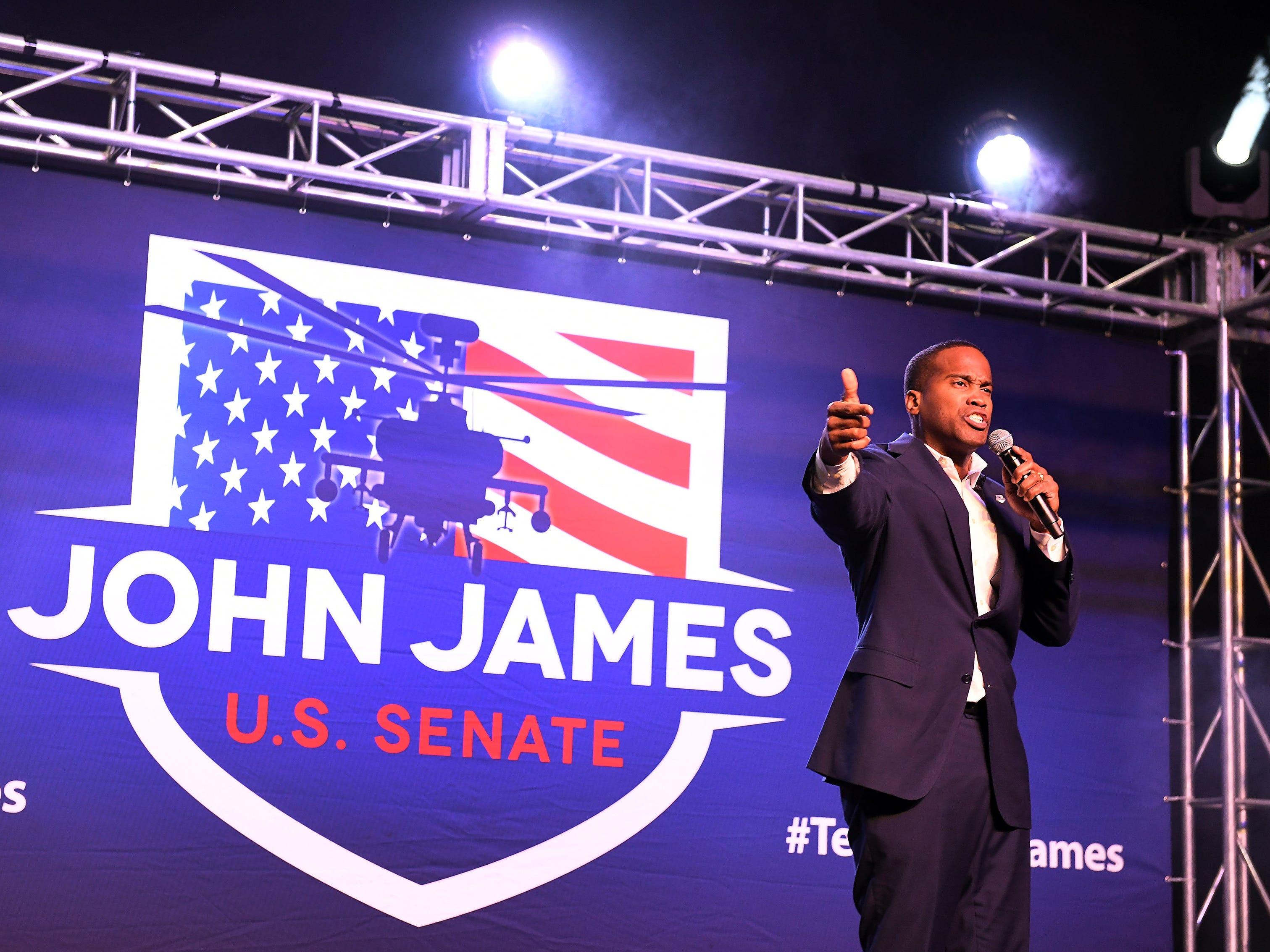 John James speaks during the rally.