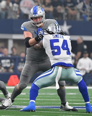 Lions offensive lineman T.J. Lang exited after this play in the first quarter against Cowboys' Jaylon Smith two games ago.