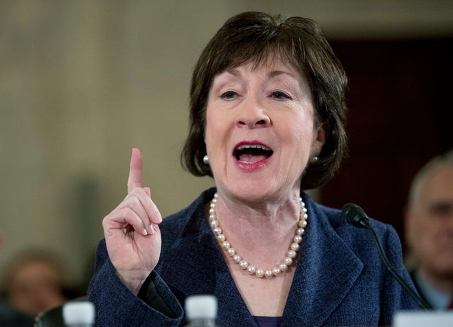 """Bailey writes: """"Photographs of Sen. Susan Collins, R-Maine, superimposed with the words""""Rape Apologist""""have been circulated around the internet following her decision to vote to confirm Justice Kavanaugh."""""""