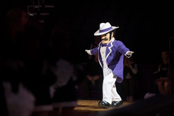 University of Evansville mascot Ace Purple takes the court during the 2018 Hoopfest at the Ford Center Wednesday Oct. 17, 2018.