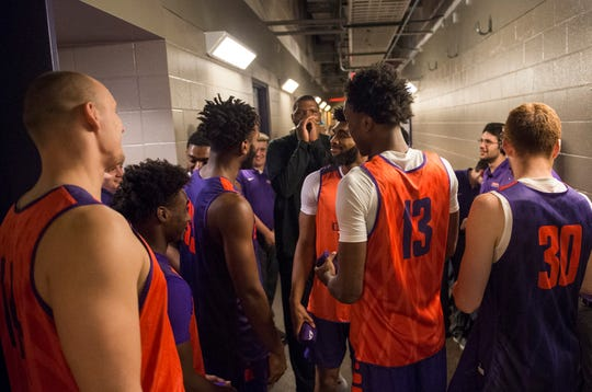The UE Men's basketball team gather outside their locker room before Hoopfest 2018 begins Wednesday, Oct. 17, 2018.