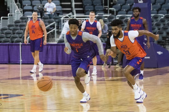 The University of Evansville Men's intersquad scrimmage during the 2018 Hoopfest at the Ford Center Wednesday Oct. 17, 2018.