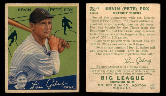 Evansville Bosse graduate Pete Fox's baseball card with the Detroit Tigers.