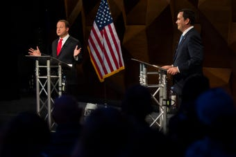 Democrat Jared Polis and Republican Walker Stapleton are asked about education issues by Coloradoan readers