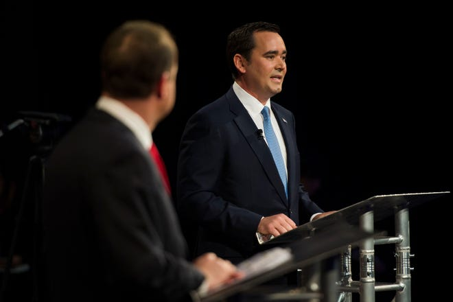 Republican candidate for Colorado governor Walker Stapleton, right, participating in a debate against Democratic candidate for Colorado governor Jared Polis on Wednesday, Oct. 17, 2018, at the Lory Students Center on Colorado State University's campus in Fort Collins, Colo.