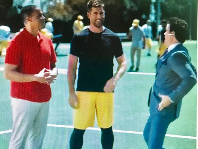 "The idea of ""cheese belts"" comes in the latest installment of Aaron Rodgers' new State Farm ad."