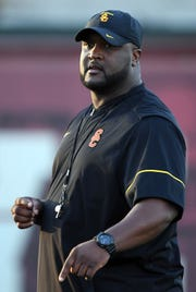 Southern California Trojans offensive coordinator Tee Martin reacts during spring practice at Howard Jones Field.