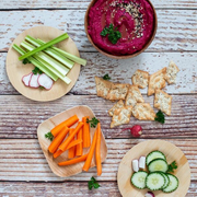 Hummus is a great starter, lunch or snack. You can use it as a dip or a spread.