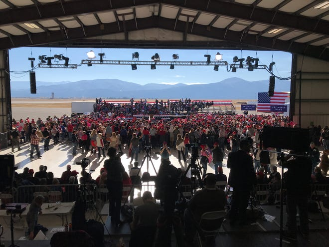 The crowd gathers in the Minuteman Aviation hanger at Missoula International Aiport several hours prior to President Trump speaks at a Make America Great Again rally Thursday.