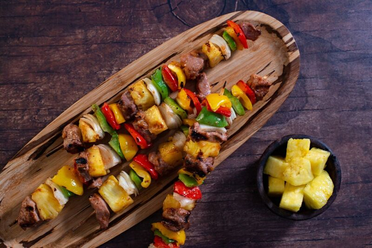 Take a cue from the Rainbow State and put the rainbow on a stick.  Kebabs are attractive, fun to eat and hey, who doesn't like food on a stick?