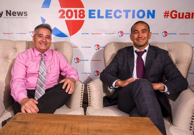 "Candidates for Attorney General of Guam, Douglas Moylan, left, and Leevin Camacho, just before the ""Convos with the Candidates"" livestream event at the Pacific Daily News studio in Hagåtña on Wednesday, Oct. 17, 2018."