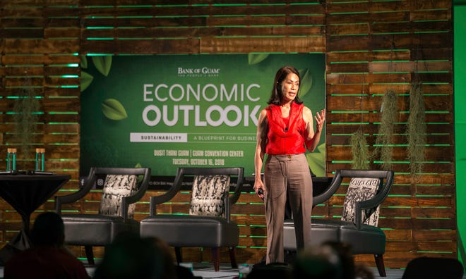 Keynote speaker at the Bank of Guam's Economic Forum, Gina Lopez, speaks to the audience on Oct. 16, 2018.