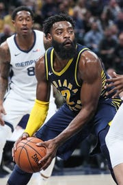 Indiana Pacers guard Tyreke Evans (12) drives to the basket during the first half of the season opener against the Memphis Grizzlies at Banker's Life Fieldhouse in Indianapolis, Wednesday, Oct. 17, 2018.