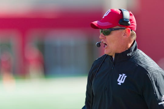 Indiana coach Tom Allen on the sideline during the second half of an NCAA college football game Saturday, Oct. 13, 2018, in Bloomington, Ind.