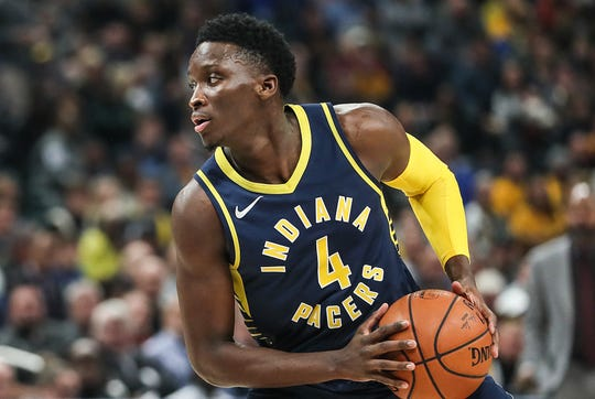 Indiana Pacers guard Victor Oladipo (4) works a possession during the first half of the season opener against the Memphis Grizzlies.