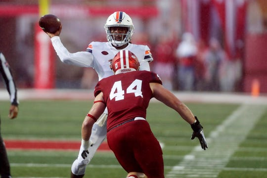 Tom Allen's son, Thomas Allen (44), has been a key part of the Hoosiers' defense this season.