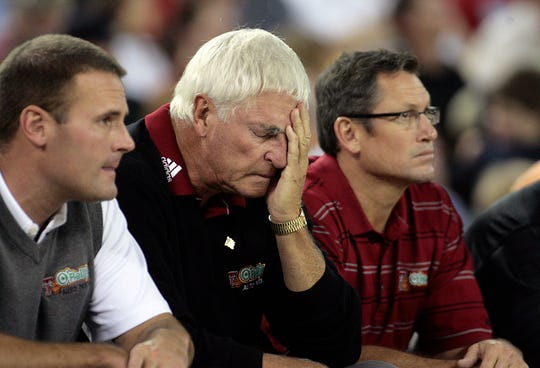 Texas Tech coach Bob Knight, center, holds his head during the championship game of the Great Alaska Shootout against Butler in Anchorage, Alaska, in this Nov. 24, 2007 file photo.