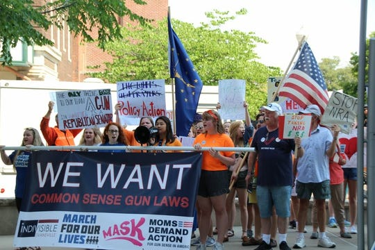 Carly Chier and other students in the Lets Talk Change group join a March For Our Lives event in Evansville, Ind. on June 9.