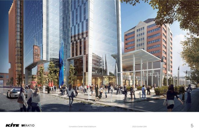 Artist renderings of the new hotels and the convention center expansion.