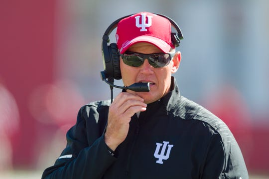 Indiana head coach Tom Allen on the sideline during the second half of an NCAA college football game against Iowa Saturday, Oct. 13, 2018, in Bloomington, Ind. Iowa won 42-16. (AP Photo/Doug McSchooler)