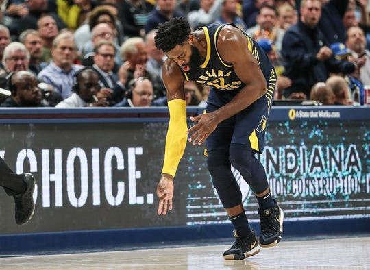 Indiana Pacers guard Tyreke Evans (12) celebrates after scoring three points during the second half of the season opener against the Memphis Grizzlies at Banker's Life Fieldhouse in Indianapolis, Wednesday, Oct. 17, 2018.