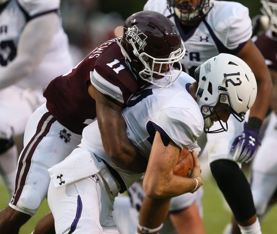Mississippi State's Jaquarius Landrews has just as many tackles as Brian Cole (11) despite starting one game to Cole's five. Landrews will continue to start at nickel as long as Cole is injured. Photo by Keith Warren/Mandatory Credit