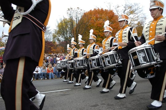 Members of the Pride of the Southland Marching Band make their way through campus during the 2008 Homecoming Parade on the University of Tennessee campus on Friday, November 7, 2008