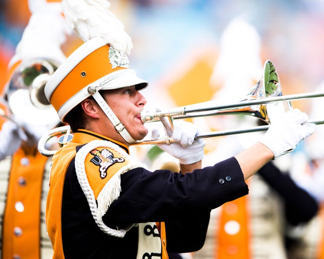 The Pride of the Southland Band takes the field during the Belk College Kickoff between Tennessee and West Virginia at Bank of America Stadium in Charlotte, North Carolina on Saturday, September 1, 2018.