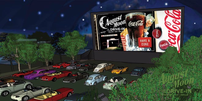 A rendering of the screen at August Moon Drive-In, a planned movie going experience for Pigeon Forge and Nashville.