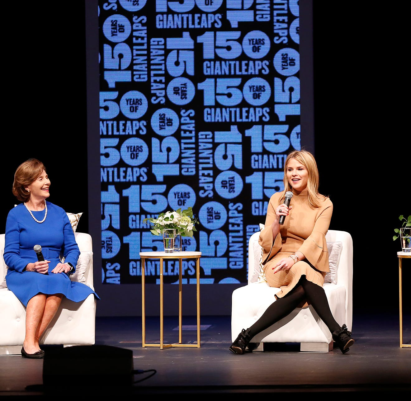 Former First Lady Laura W. Bush, from left, and daughters Jenna Bush Hager and Barbara Pierce Bush tell stories from the White House as they present Women in the White House & Beyond Thursday, October 18, 2018, in Elliott Hall of Music on the campus of Purdue University. The event was part of the Sears lecture series.