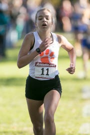 Morgan Crompton led Brighton with a 15th-place finish in the KLAA cross country meet on Thursday, Oct. 18, 2018.
