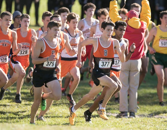 Zach Stewart (377) and Scott Spaanstra (375) lead Brighton off the start line in the KLAA cross country meet on Thursday, Oct. 18, 2018.