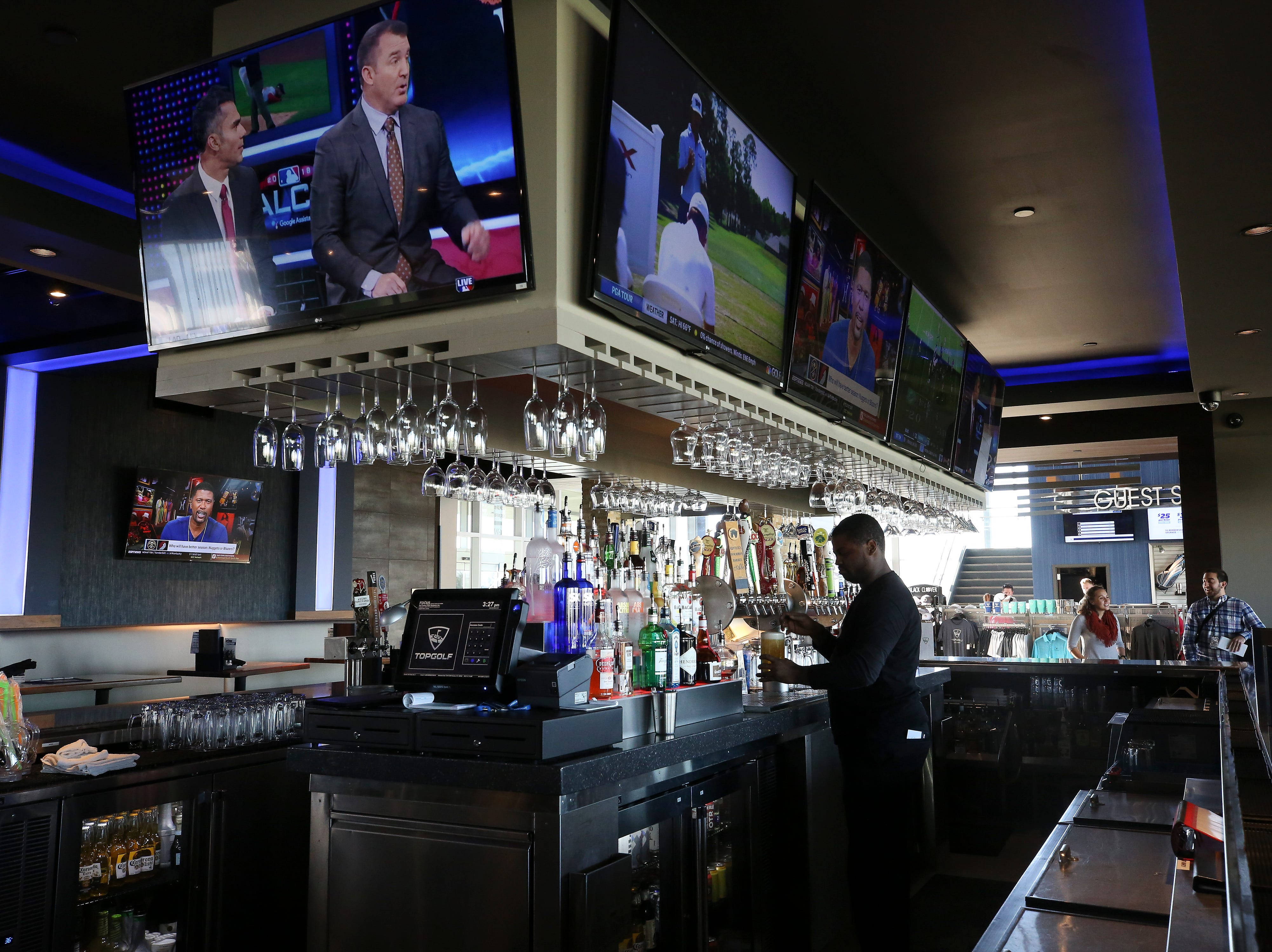The bar at the Topgolf outside of Cincinnati, Ohio.  Topgolf is proposing to build a facility at the Oxmoor Center in Louisville as they wait for a decision by the Metro planning commission. 