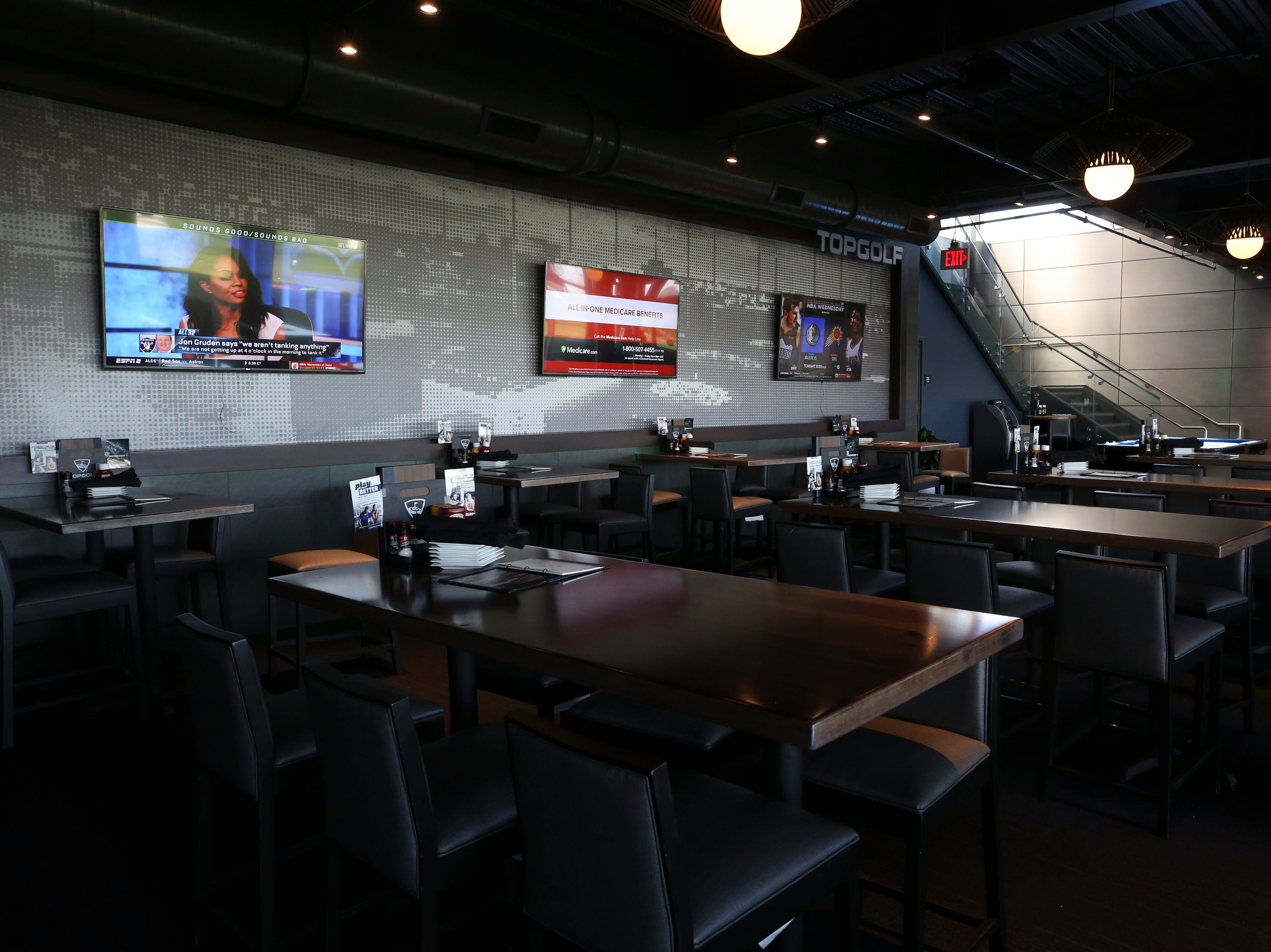 A lounge at the Topgolf outside of Cincinnati, Ohio.  Topgolf is proposing to build a facility at the Oxmoor Center in Louisville as they wait for a decision by the Metro planning commission. 