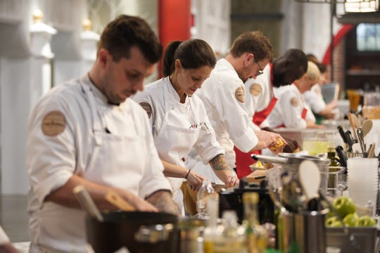 "A group of chefs compete on the first episode of ""Top Chef"" season 16."