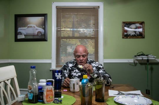 Stan Bishop eats a breakfast of 12 egg whites before heading off to train his arms and back. The 65-year-old bodybuilder, who made a career as a master plumber, has been lifting weights nearly all his life.