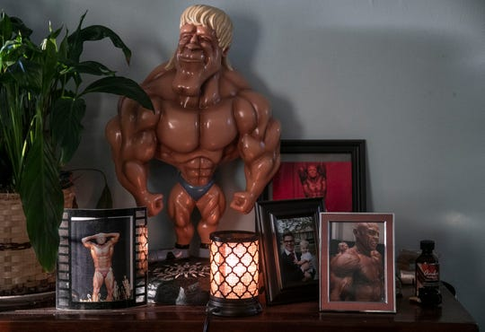 Inside Stan Bishop's home, pictures and momentos from his bodybuilding lifestyle are evident.