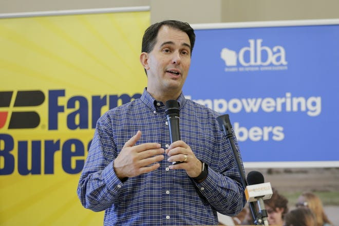 Wisconsin Gov. Scott Walker speaks after receiving endorsements from Wisconsin agricultural groups at the Farm Wisconsin Discovery Center Oct. 18 in Manitowoc.