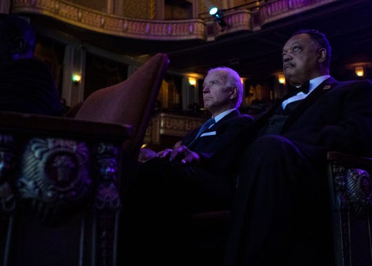 Vice President Joe Biden and civil rights leader Jesse Jackson sit in the audience during the National Civil Rights Museum Freedom Award night program Wednesday October 17, 2018 in the Orpheum Theatre.