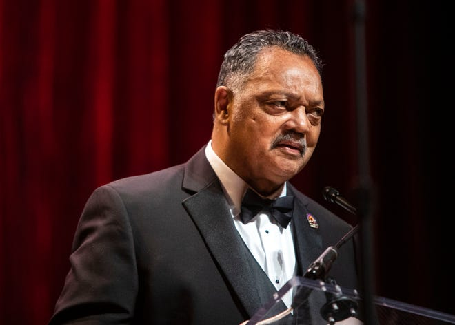 Civil rights leader Jesse Jackson gives a speech at the National Civil Rights Museum Freedom Award night program after receiving his honoree award Wednesday October 17, 2018 in the Orpheum Theatre.