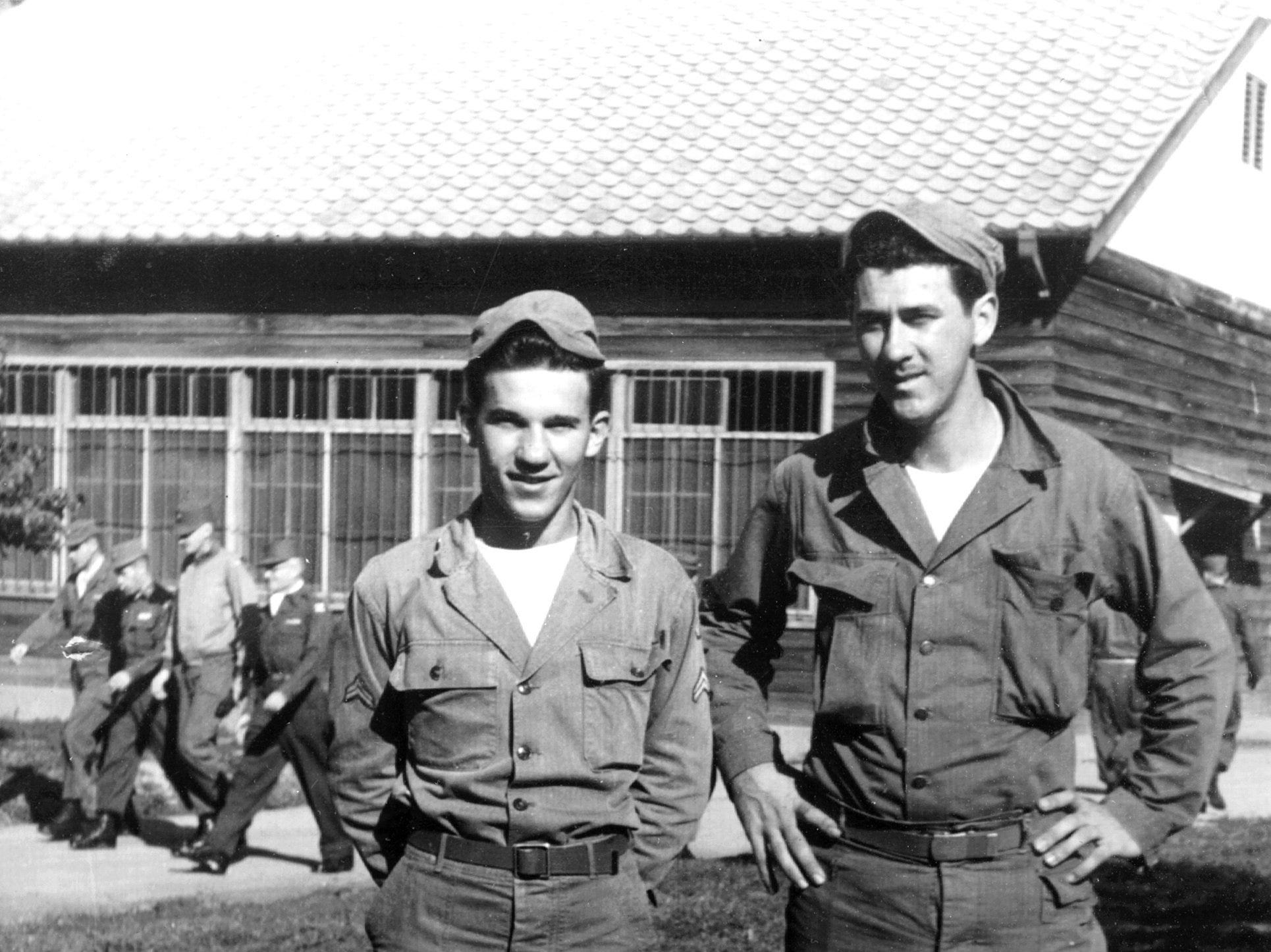 Michael Denegri (Left) and Roy Gaia (Right), who grew up together in the Kell and Thomas neighborhood, pose on 20 Oct 1952 while serving in the U.S. Army in Seoul, Korea.  The two have been life-long friends.