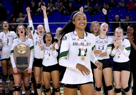 Briarcrest Christian's Alyiah Wells (12) receives the MVP of the Championship game of the TSSAA Division II Class AA bracket of the State Girls Volleyball tournament at MTSU, on Thursday, Oct. 18, 2018.